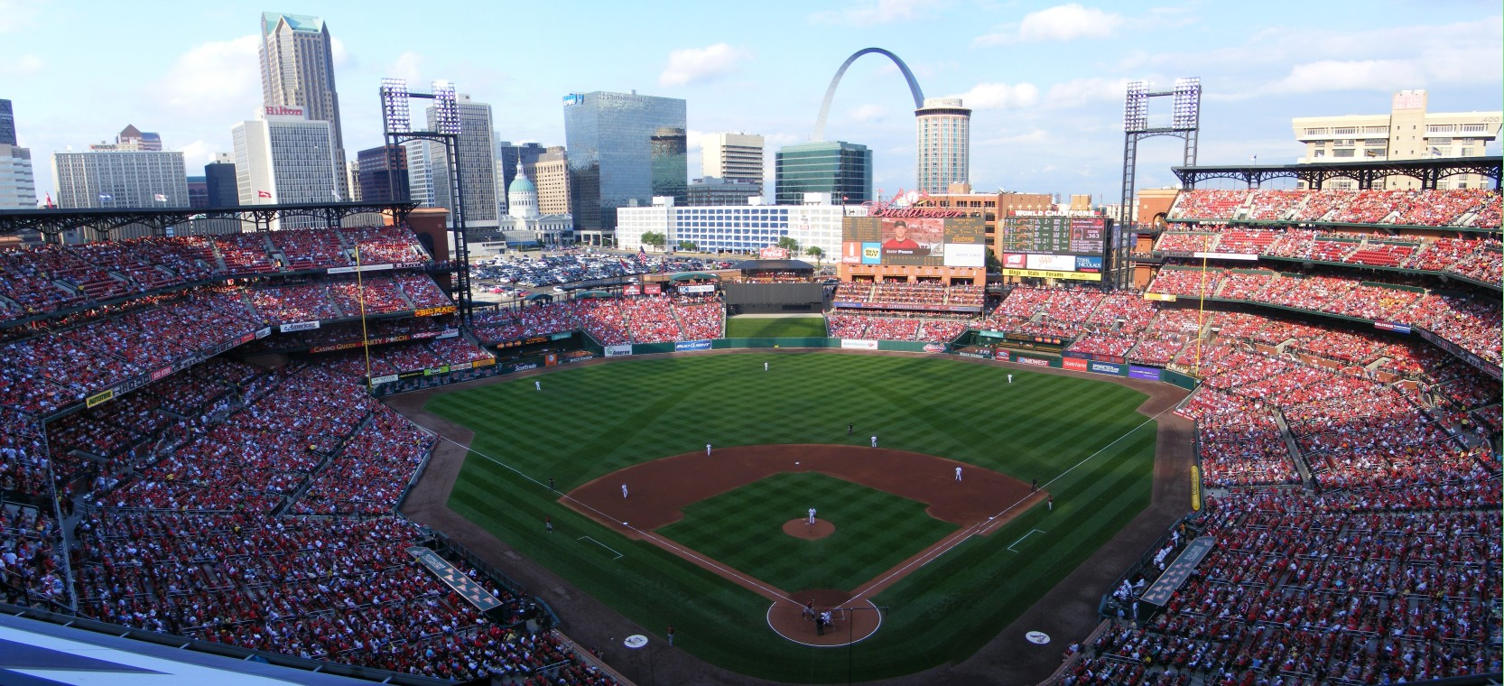 Busch Stadium in St. Louis: an oasis for white people to escape the reality of a city awash in black dysfunction (St. Louis Post-Dispatch attacked the whiteness of the crowds – and team – in 2012)